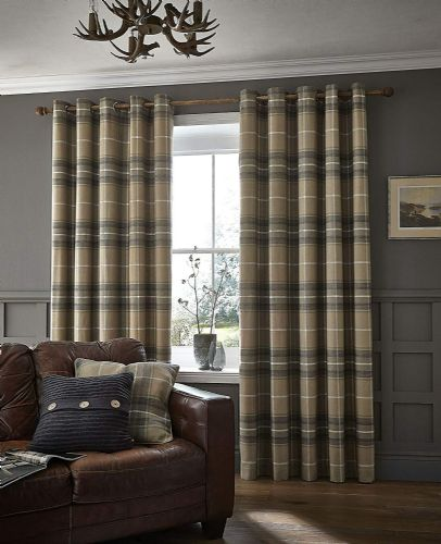Catherine Lansfield Brushed Heritage Check Grey Eyelet Curtains